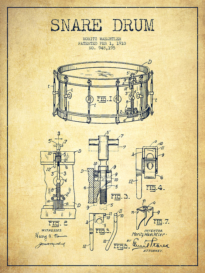 Snare Drum Digital Art - Waechtler Snare Drum Patent Drawing From 1910 - Vintage by Aged Pixel