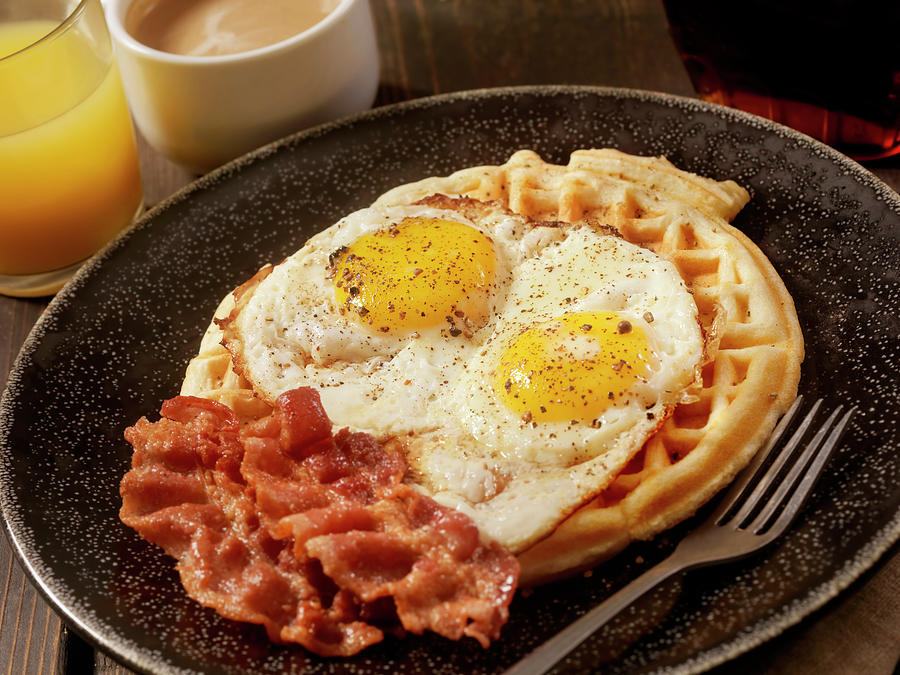 Waffles With Fried Eggs And Bacon Photograph by Lauripatterson