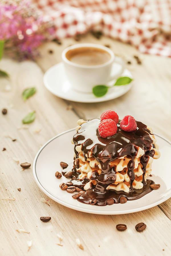 Waffles With Raspberry, Chocolate Sauce Photograph by Da-kuk