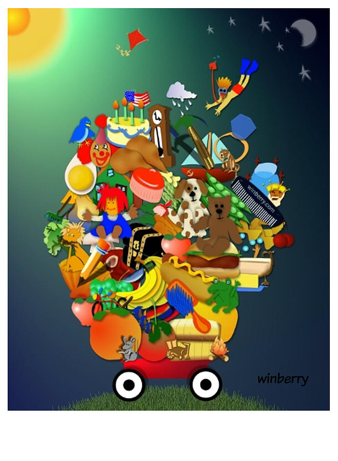 Winberry Digital Art - Wagon Of Toys by Bob Winberry