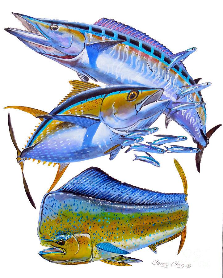 Wahoo Painting - Wahoo Tuna Dolphin by Carey Chen