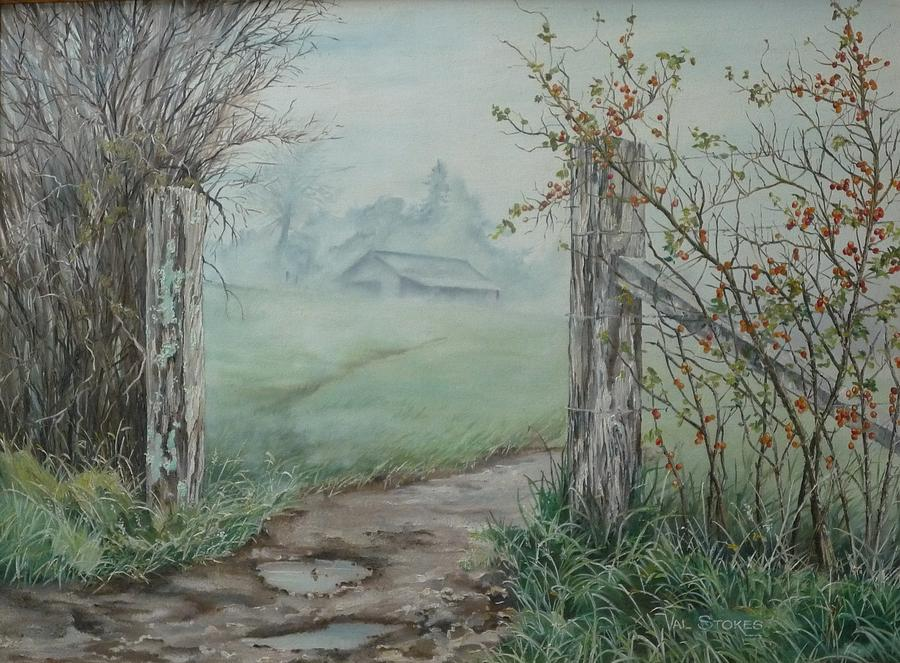 Landscape Painting - Waikato Fog. by Val Stokes