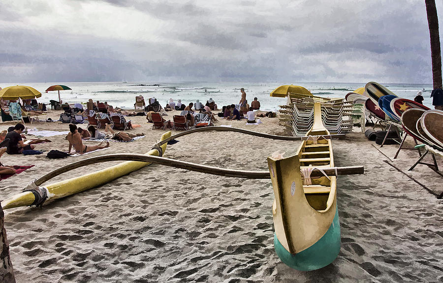 Canoe Photograph - Waikiki Beach Hawaii by Douglas Barnard