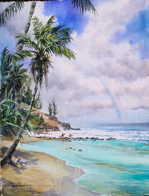 Tropical Seascape Painting - Waikoko Surf by Patrice Pendarvis