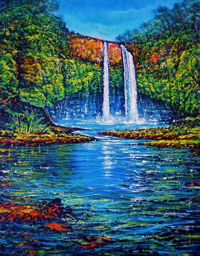 Wailua Falls Kauai Painting by Joseph   Ruff