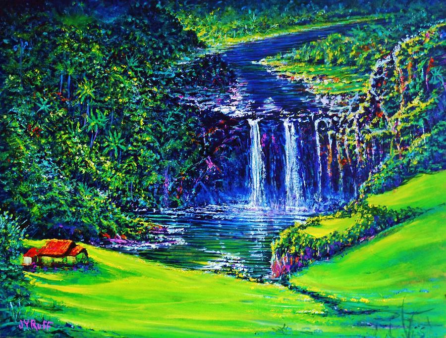 Waimea Falls Lv Painting by Joseph   Ruff
