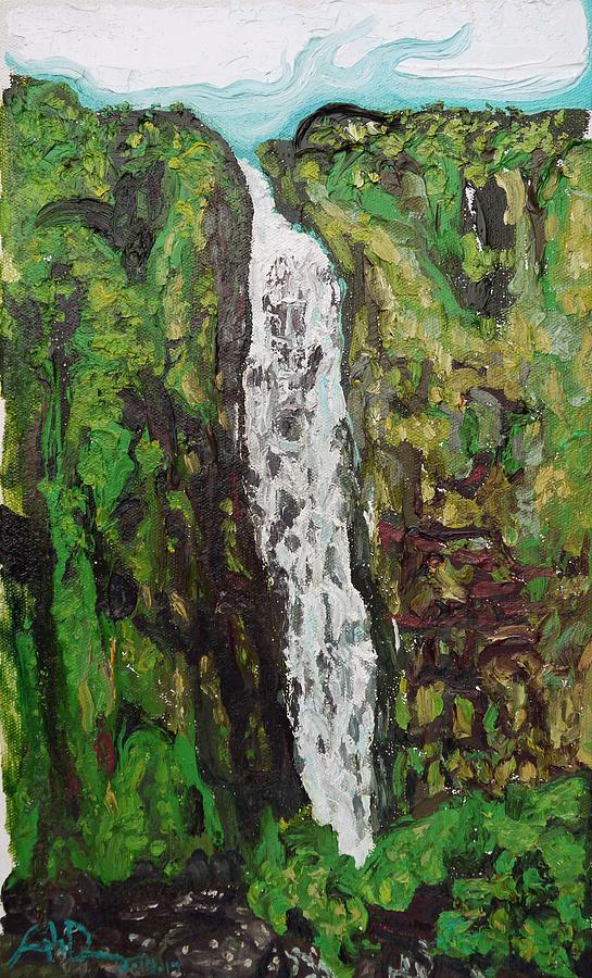 Falls Painting - Waimoku Falls by Joseph Demaree