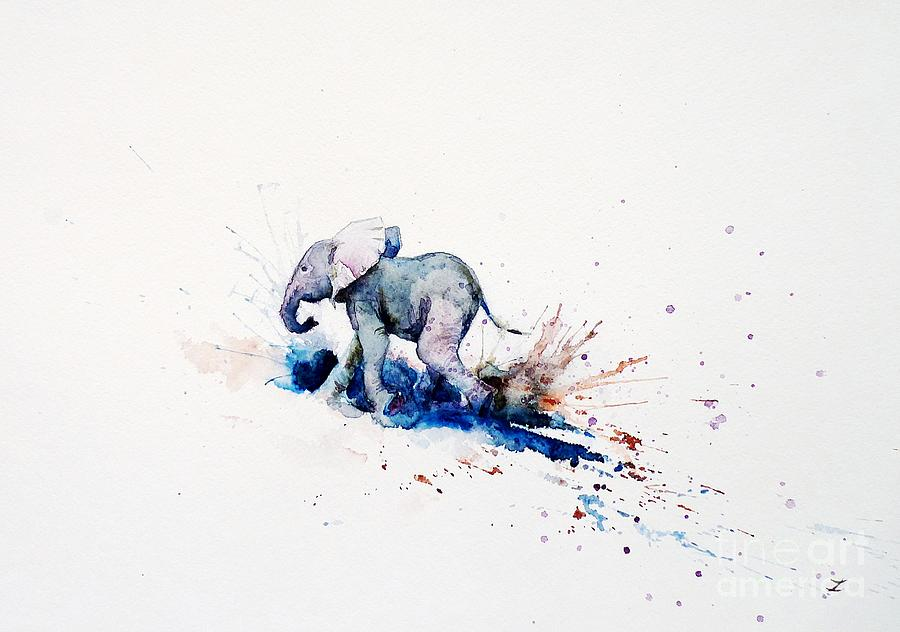 Elephant Painting - Wait For Me by Zaira Dzhaubaeva