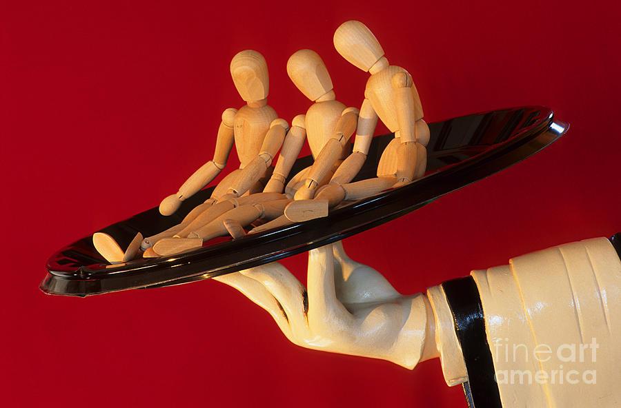 Waiter Photograph - Waiter Serving 3 Dummies by Bob Christopher