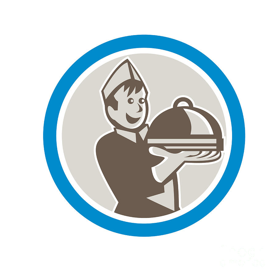 Waiter Digital Art - Waiter Serving Food On Platter Retro by Aloysius Patrimonio