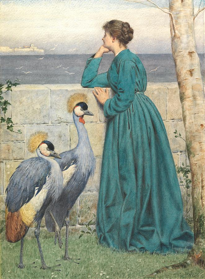 Female Painting - Waiting And Watching by Henry Stacey Marks