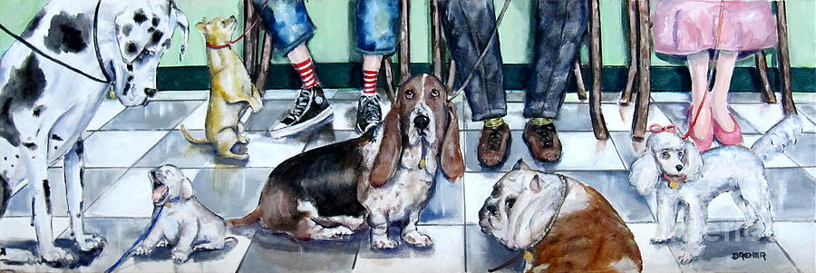 Dogs Painting - Waiting At The Vets Office by Chris Dreher
