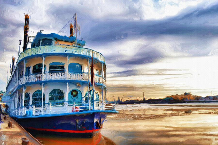 Boat Painting - Waiting by Ayse Deniz