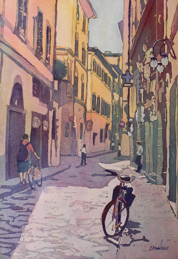 Florence Painting - Waiting Bike by Jenny Armitage