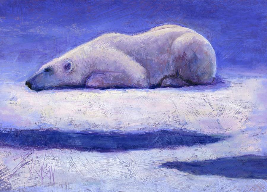 Polar Bear Painting - Waiting  by Billie Colson