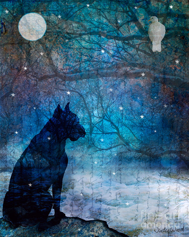 Dog Digital Art - Waiting By The Night River by Judy Wood
