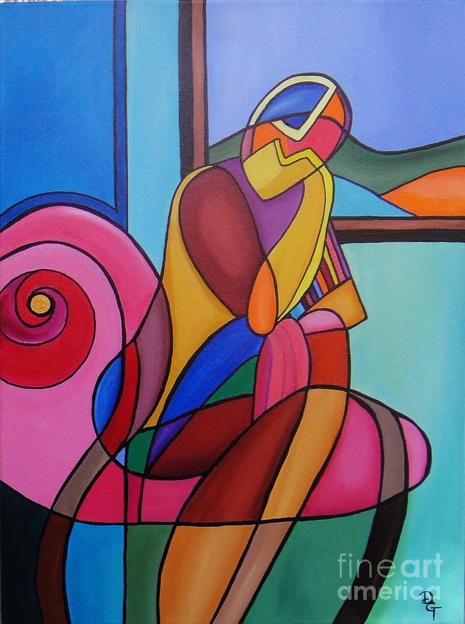 Figurative Painting - Waiting by Deborah Glasgow