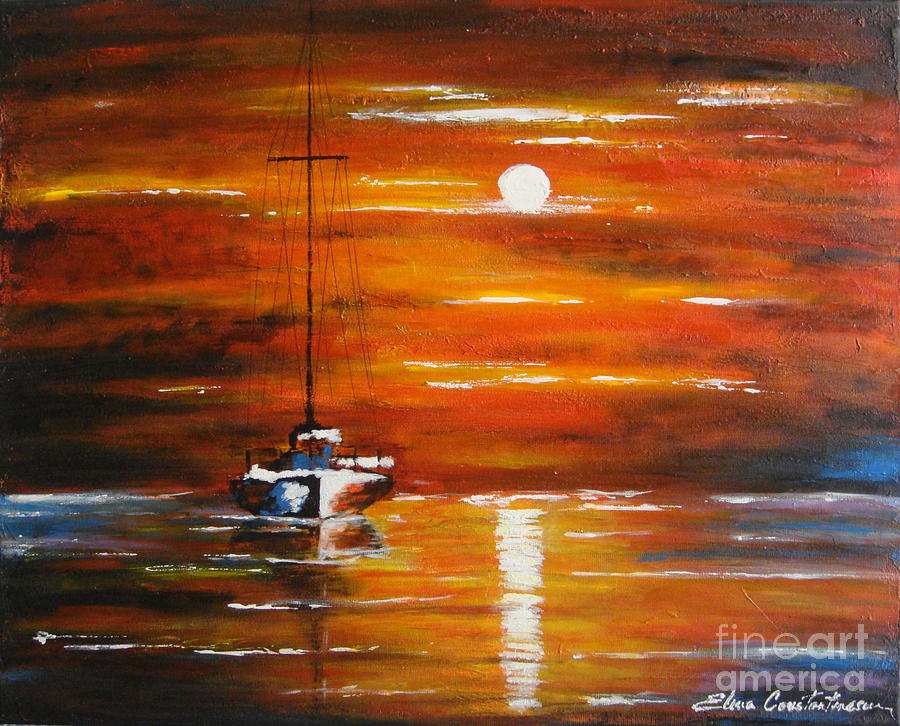 Seascape Painting - Waiting... by Elena  Constantinescu