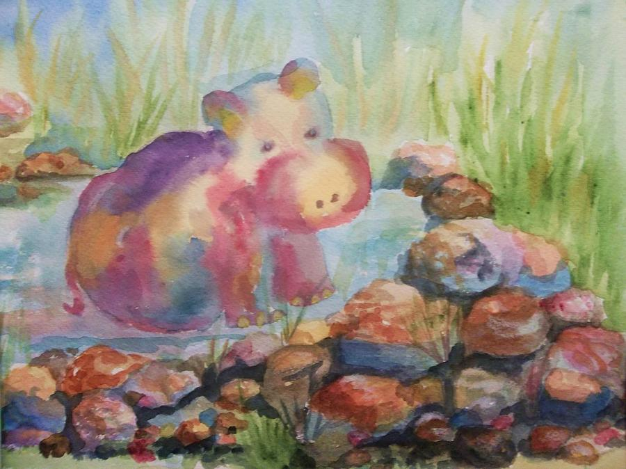 Hippo Painting - Waiting by Ellen Levinson