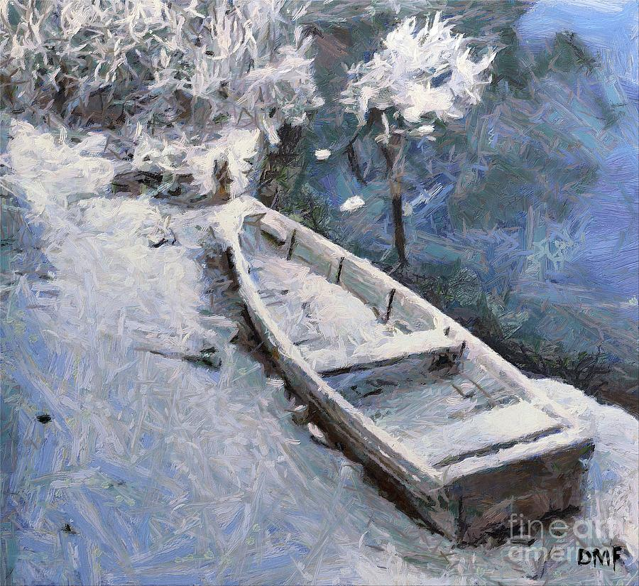 Boat Painting - Waiting For A Spring by Dragica  Micki Fortuna