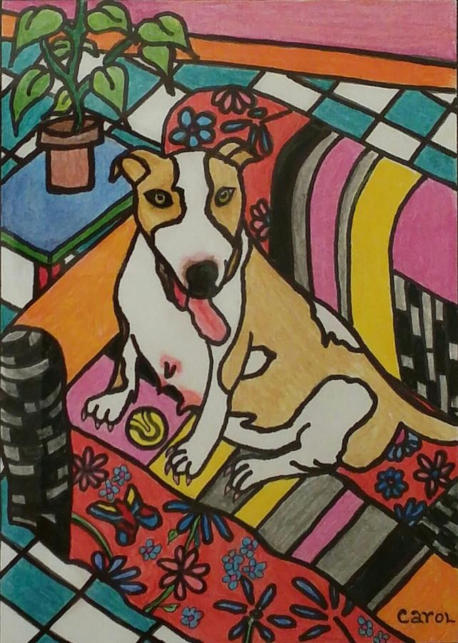 Dog Drawing - Waiting For Delivery by Carol Hamby