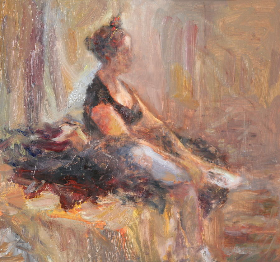 Ballerina Painting - Waiting For Her Moment - Impressionist Oil Painting by Quin Sweetman