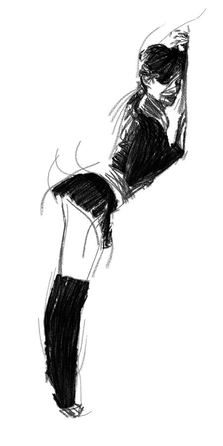 Woman Female Girl Sexy Skirt Curves Black White Erotic Ballet Dancer Drawing Expressionism Impressionism  Painting - Waiting For His Touch by Steve K