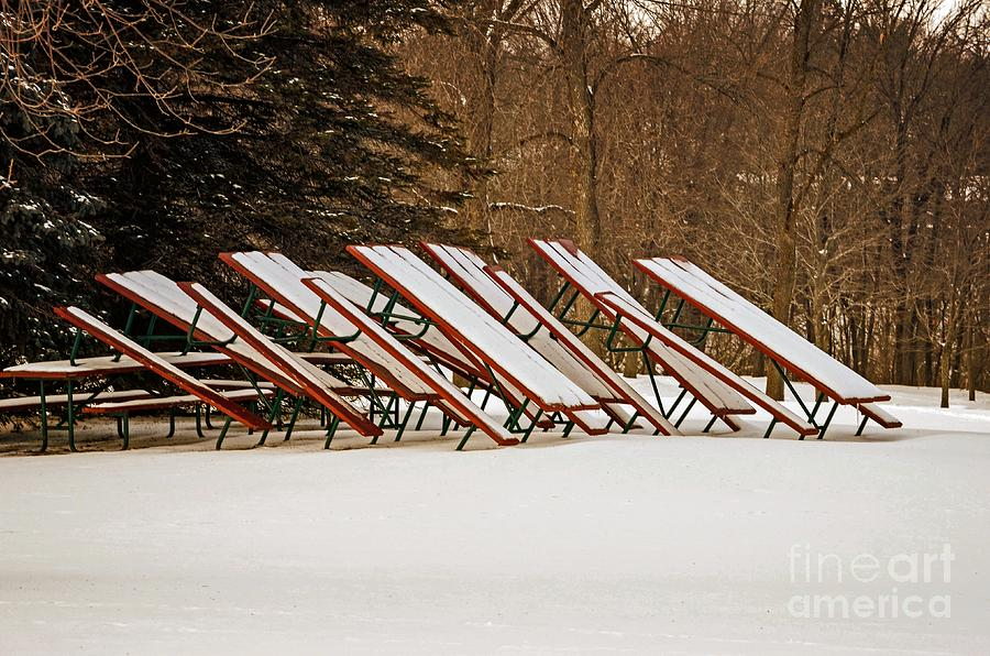 Park Photograph - Waiting For Summer - Picnic Tables by Mary Machare
