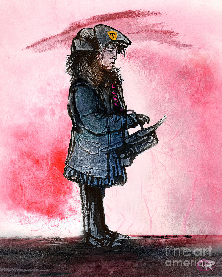 Figure Painting - Waiting for the bus by William Rowsell