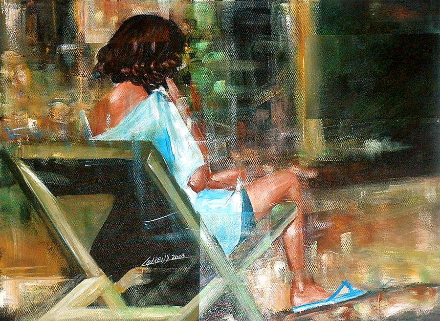 Women Painting - Waiting For The Call by Laurend Doumba