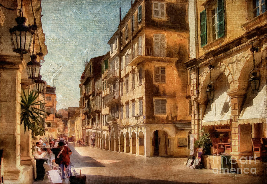Corfu Digital Art - Waiting For The Tourists Painterly by Lois Bryan