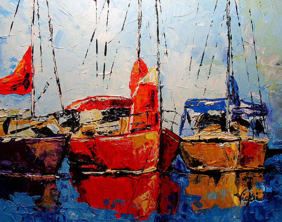 Boats Painting - Waiting For The Weekend by Vickie Warner
