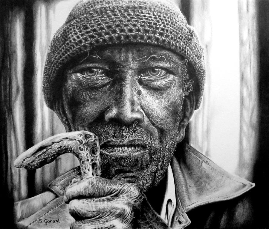 Drawing Drawing - Man With Cane by Geni Gorani