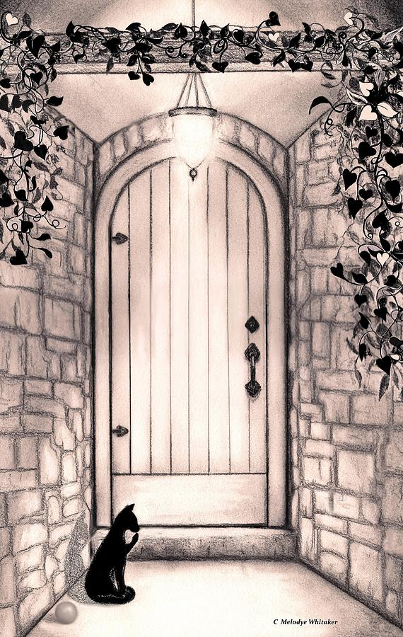 Black Cat Drawing - Waiting For You by Melodye Whitaker