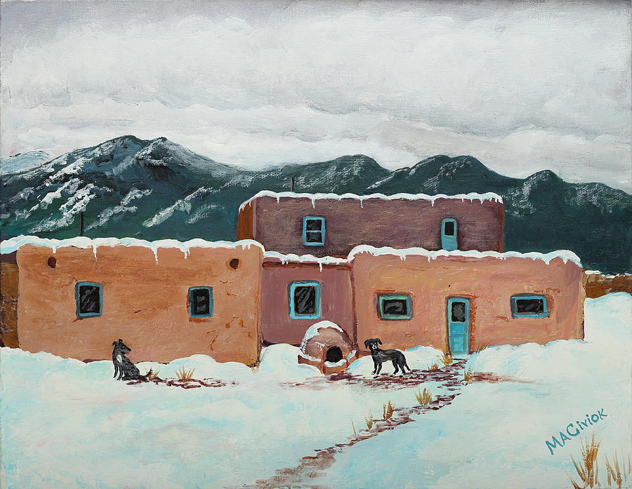 Taos Painting - Waiting In Taos by Mary Anne Civiok
