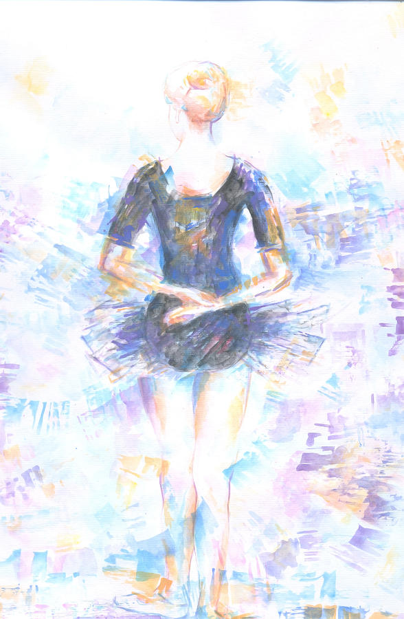 Ballerina Painting - Waiting by Jovica Kostic