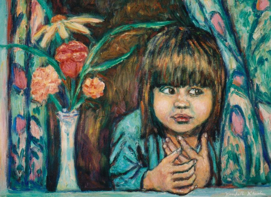 Young Girl Painting - Waiting by Kendall Kessler