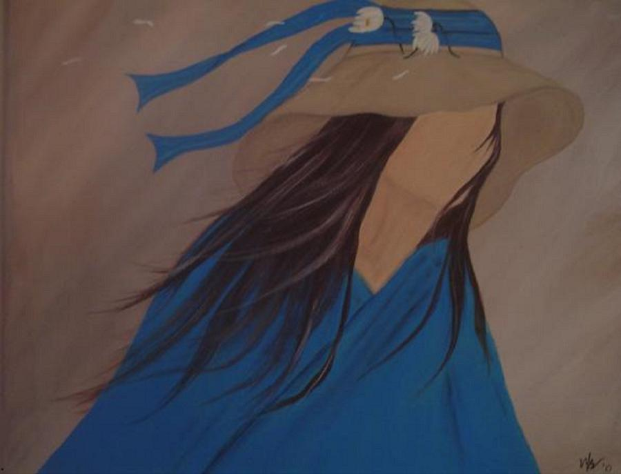 Faceless Painting - Waiting by Melanie Blankenship