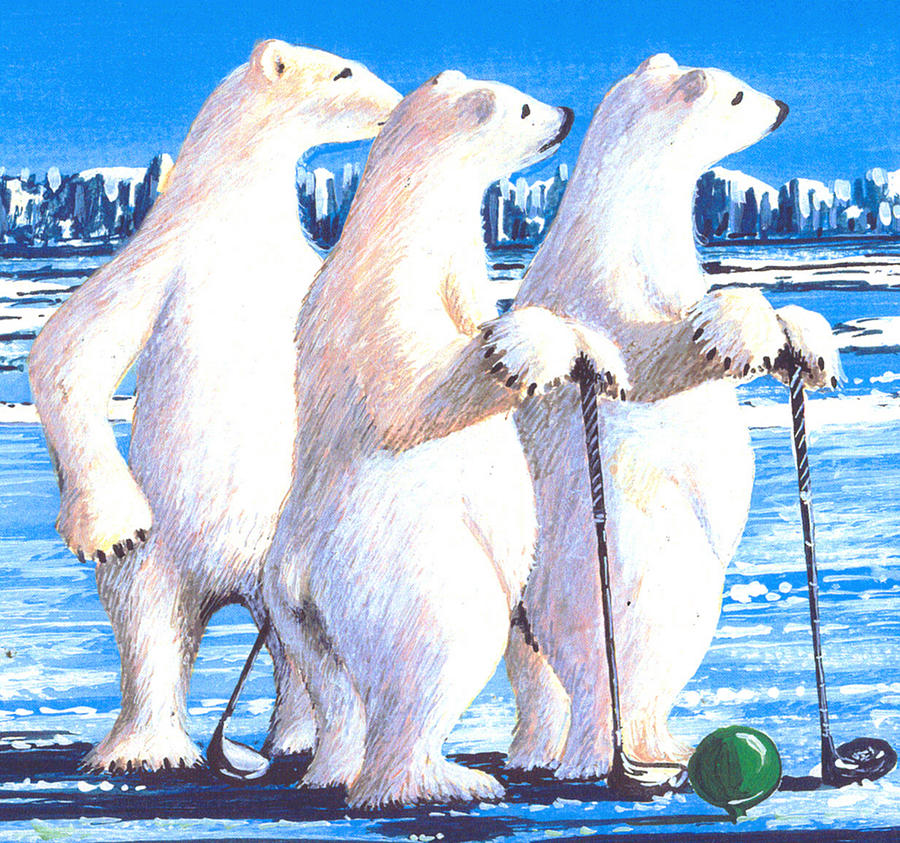 Polar Bears Painting - Waiting On The Tee Box by Bob Patterson
