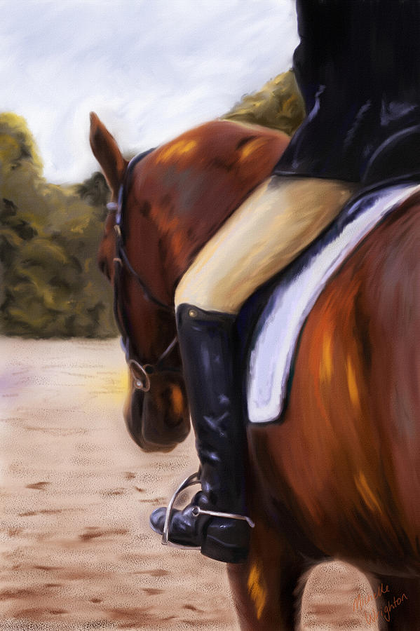 Dressage Painting - Waiting Our Turn by Michelle Wrighton
