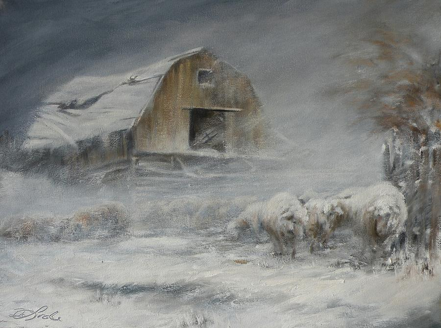 Sheep Painting - Waiting Out The Storm by Mia DeLode