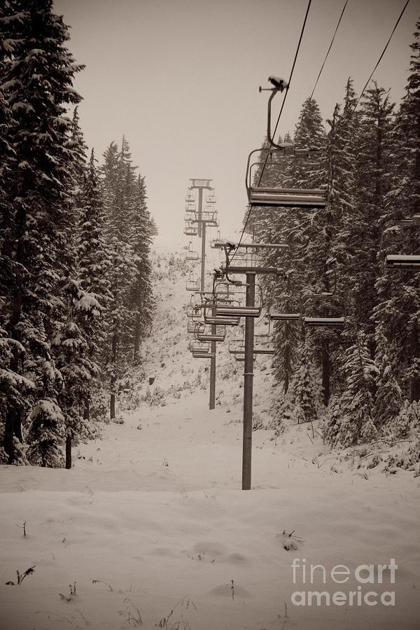 Oregon Photograph - Waiting Ski Lifts by Cari Gesch