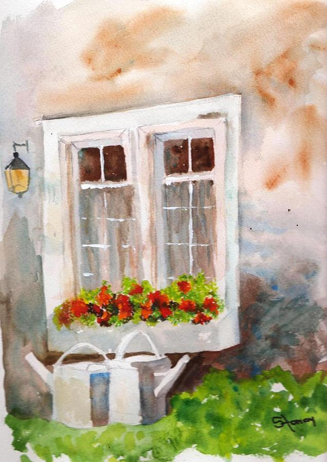 Watering Cans Painting - Waiting To Be Watered by Sandi Stonebraker