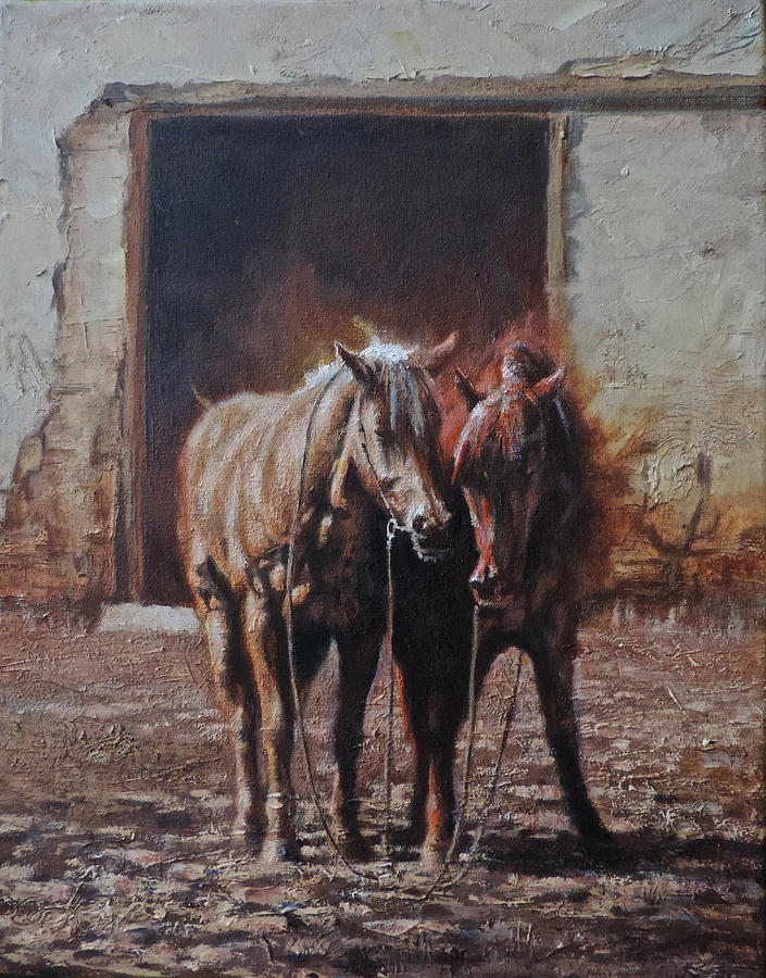Horses Painting - Waiting to Ride Again by Mia DeLode