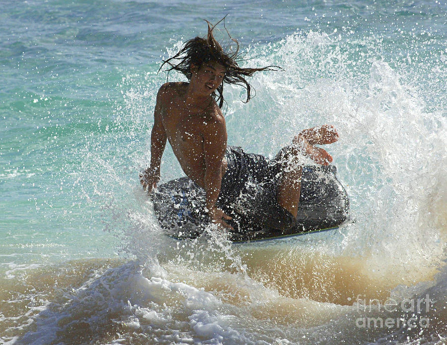 Youth Photograph - Wake Boarder Hawaii by Bob Christopher