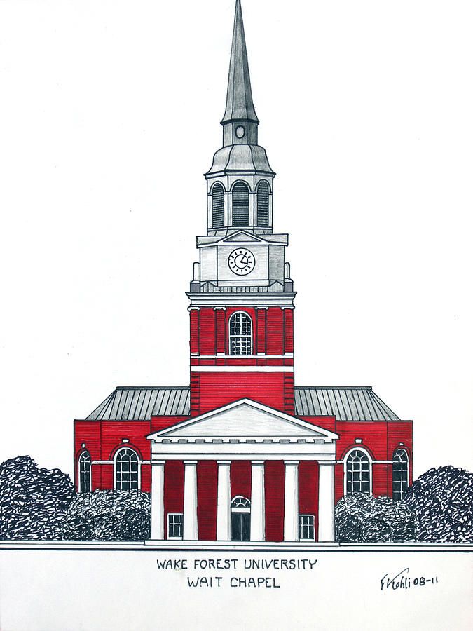 Historic Buildings Drawings Drawing - Wake Forest by Frederic Kohli