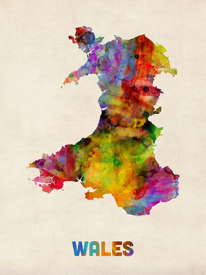 Watercolour Digital Art - Wales Watercolor Map by Michael Tompsett