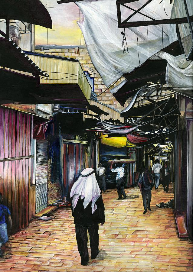 Market Place Painting - Walk Home Through Antiquity Old Jerusalem by Gaye Elise Beda