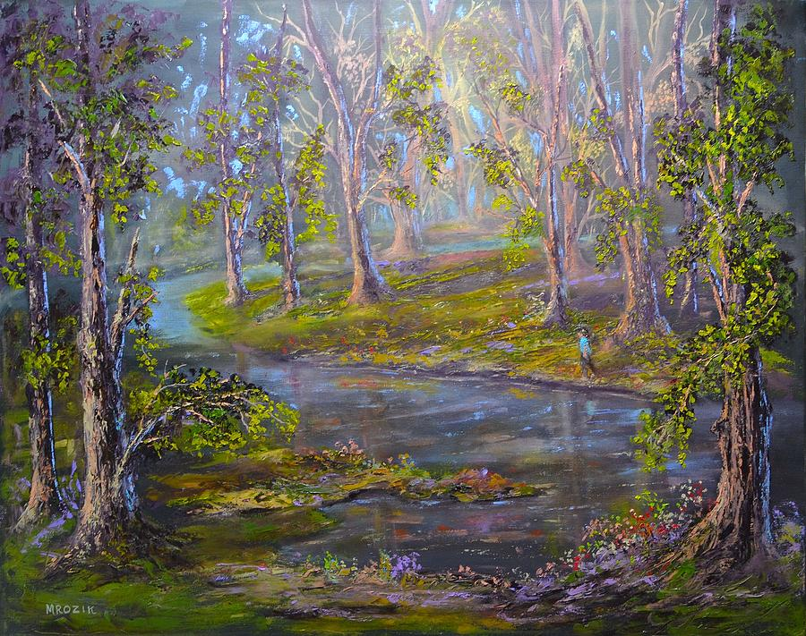 Landscape Painting - Walk In The Woods by Michael Mrozik