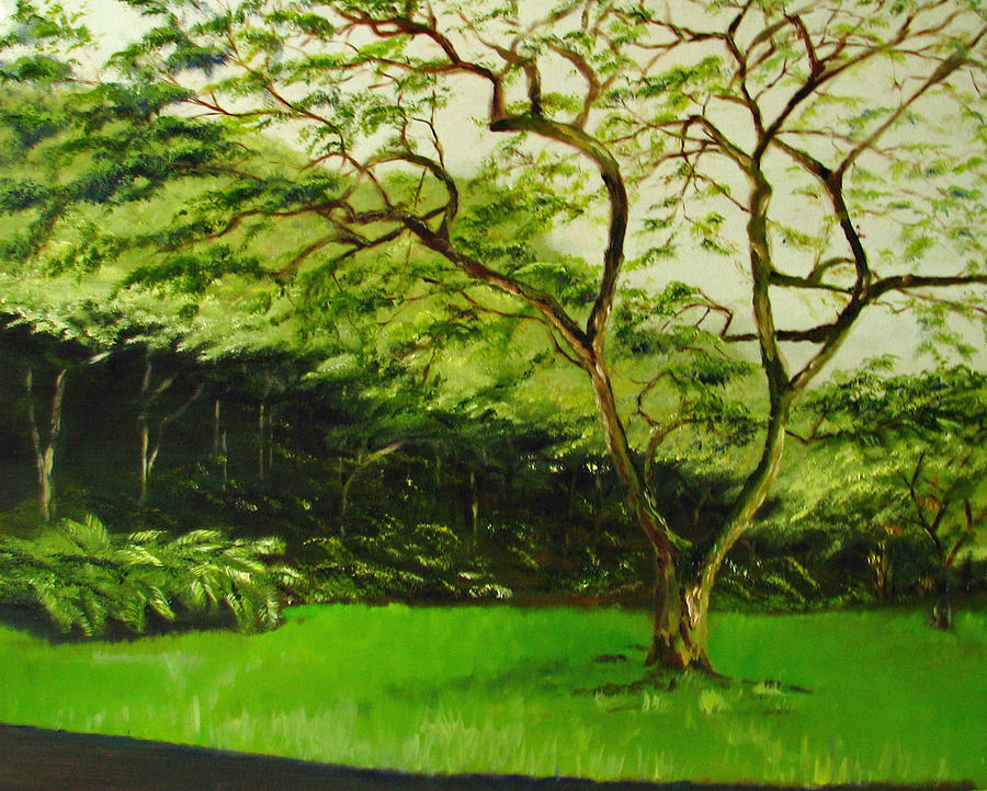 Nature Painting - Walk In Waimea Valley by Sherry Robinson